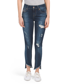 Skinny Jeans With Hi Lo Slanted Cuffs