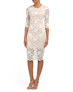 Elbow Sleeve Burnout Lace Dress