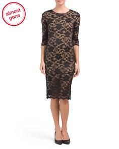 Three-quarter Sleeve Burnout Lace Dress