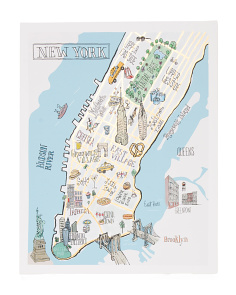 22x28 NYC Guide Map Canvas Wall Art