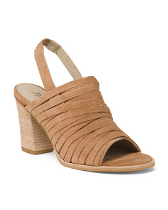 Made In Brazil Stacked Heel Suede Sandals