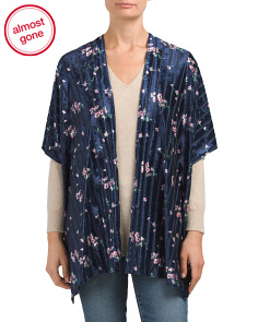 Striped Mini Flower Velvet Kimono