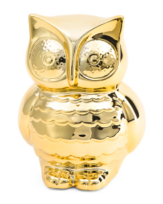 Metallic Owl Coin Bank