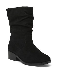 Wide Slouchy Mid Calf Suede Booties