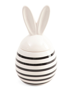 Striped Ceramic Bunny Box