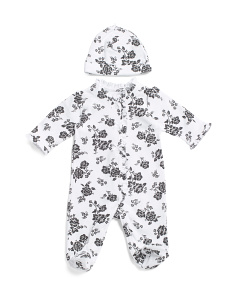 Baby Girls Floral Damask Cotton Footie Sleep N Play