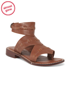 Leather Flat Ankle Sandals