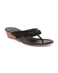 Leather Wedge Thong Slip On Sandals