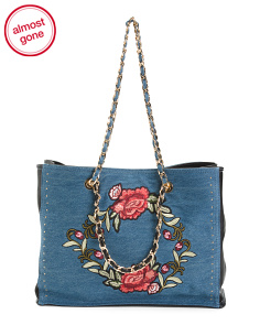 Rose Embroidery Chain Tote