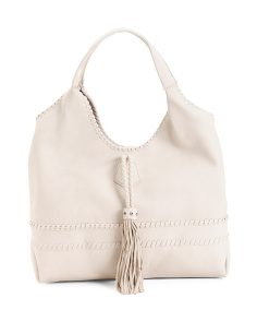 Fringed Hobo With Suede Trim