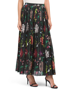Made In USA Printed Long Pleated Skirt