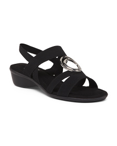 Stretch Wedge Sandals With Ornament