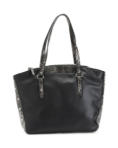 Faux Python Tote With Pebbled Back