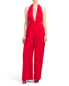 Plunging Neckline Red Jumpsuit