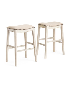 Set Of 2 Antiqued Saddle Stools