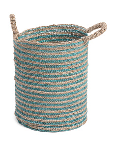 Medium Seagrass Colorblock Storage Basket