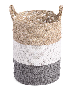 Color Block Seagrass Storage Basket