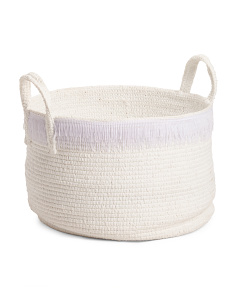 Made In Indonesia Large Rope Storage Basket With Fringe