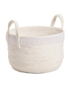 Made In Indonesia Medium Rope Storage Basket With Fringe