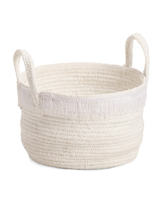 Made In Indonesia Cotton Rope Storage Basket With Fringe