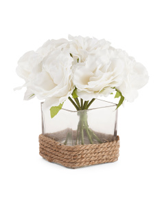 8in Faux White Roses In Square Vase