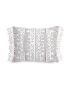 14x18 Embroidered Fringe Trim Pillow