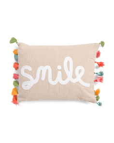 14x18 Embroidered Smile Pillow