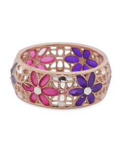 Made In Italy Rose Gold Plated Sterling Silver Enamel Ring