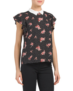 Juniors Ditzy Dot Print Top