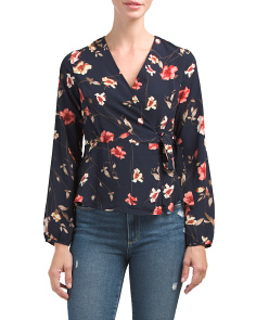 Juniors Long Sleeve Floral Wrap Top