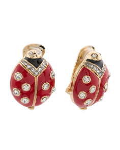 Made In USA Crystal And Enamel Lady Bug Clip Back Earrings