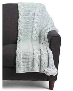 Oversized Cable Knit Throw
