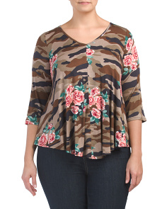 Plus Made In USA Army Rose Print Swing Top