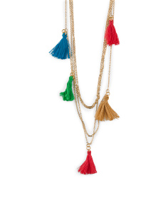 Made In Canada Cotton Tassel 4 Row Necklace