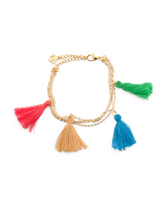 Made In Canada Cotton Tassel Multi Row Bracelet