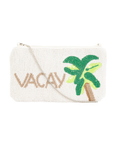 Vacay Embellished Canvas Crossbody