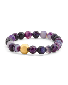 Made In Canada Amethyst Agate Gold Bead Stretch Bracelet