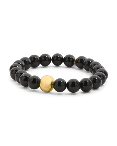 Made In Canada Onyx Gold Bead Stretch Bracelet
