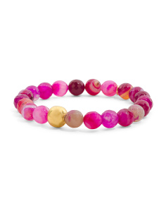 Made In Canada Pink Fire Agate Gold Bead Stretch Bracelet