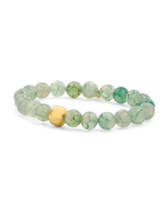 Made In Canada Seafoam Agate Gold Bead Stretch Bracelet