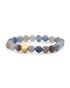 Made In Canada Sky Blue Agate Gold Bead Stretch Bracelet