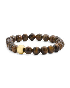 Made In Canada Tigers Eye Gold Bead Stretch Bracelet