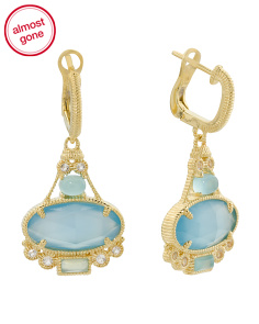 14k Gold Plated Sterling Silver Blue Chalcedony Earrings