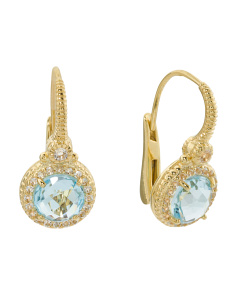 14k Gold Plated Sterling Silver Sky Blue Topaz Drop Earrings