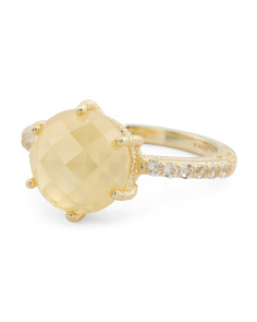 14k Gold Plated Sterling Silver Canary Crystal Ring