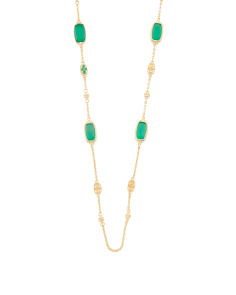 14k Gold Plated Sterling Silver Green Chalcedony Necklace