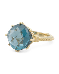 14k Gold Plated Sterling Silver London Blue Spinel Ring