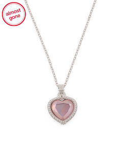Sterling Silver Pink Shell Heart Necklace