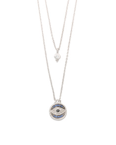 Sterling Silver Sapphire And White Topaz Evil Eye Necklace