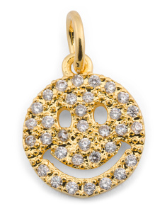 Made In USA Gold Micropave Cz Smiley Clip On Charm